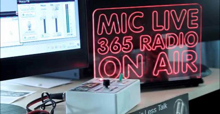 Example of our sign used for internet radio station